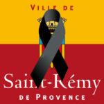 Logo de la ville de Saint-Rémy-de-Provence barré d'un ruban noir