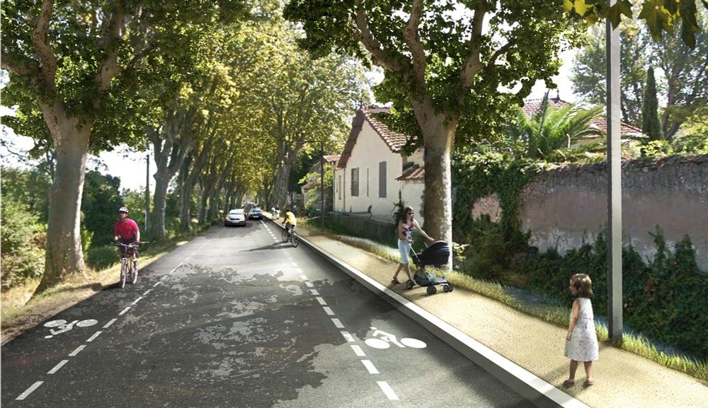 Une chaussée à circulation douce (
