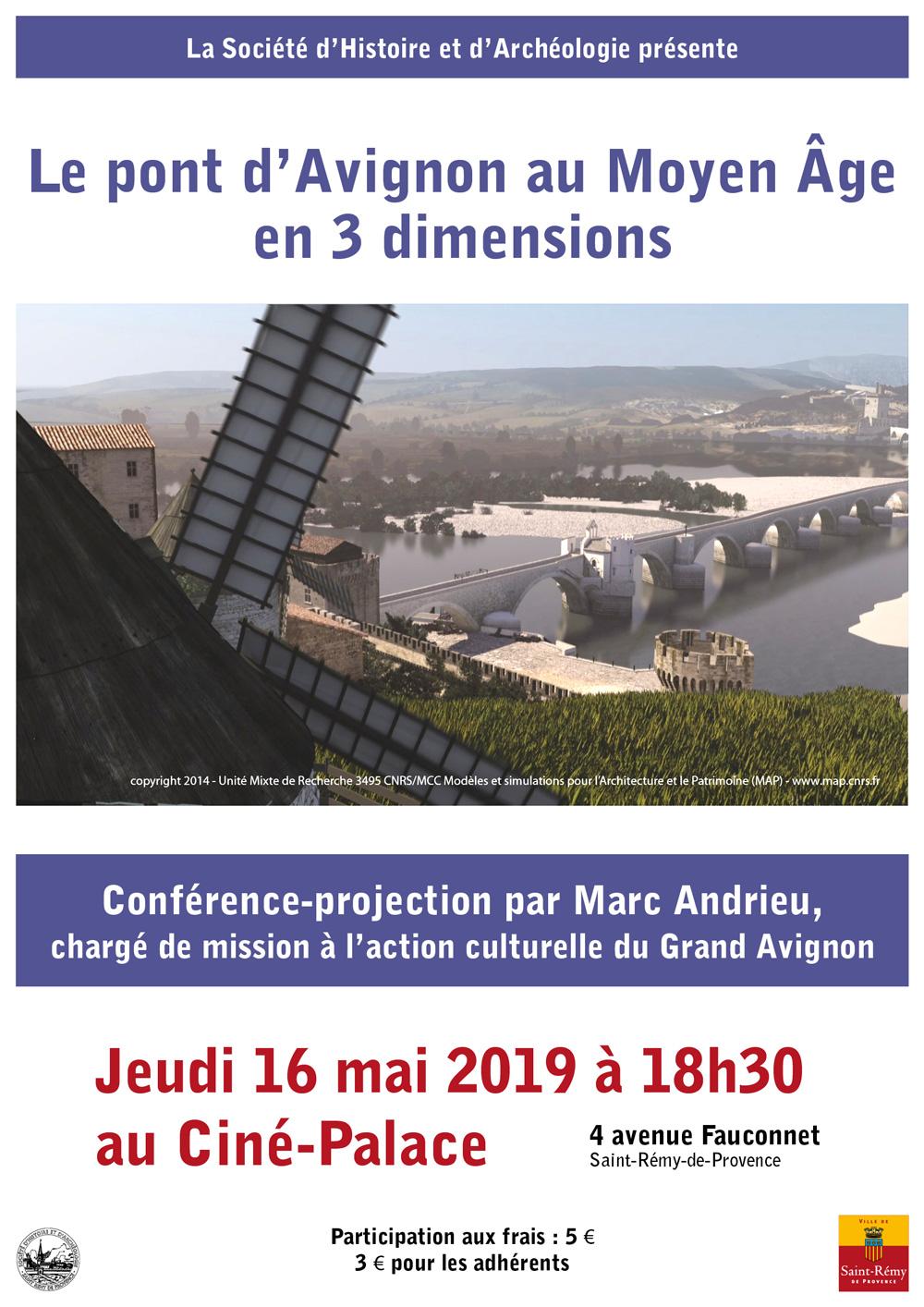 Affiche de la conférence sur le pont d'Avignon par la SHA